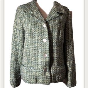 Chicos Blue/Green Tweed Jacket  Chicos Size 1
